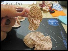 ARTEMELZA - Arte e Artesanato: Borboleta de fuxico country – passo a passo | Fabric country butterfly yo-yo - step by step