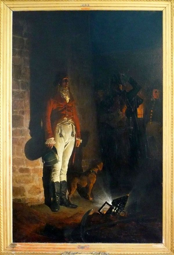 Jean-Paul Laurens (1838-1921): The Execution the Duc d'Enghien in the moat of Vincennes . (1873) Celebrity table. Night scene. The young Duke standing in the ditches of Vincennes, illuminated by a lantern.  Beside him stands Mohilof, the dog that gave him his cousin, Princess Charlotte de Rohan-Rochefort he was to marry.  Paintings of the Museums of France: ALENCON