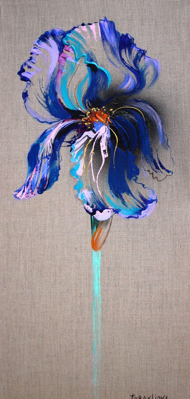 """Tableau peinture unique sur toile """"Iris"""" d artiste-peintre et styliste parisienne Juravliova Liubov médaillé de concours un de Meilleurs Ouvriers : Peintures par juravliova"""