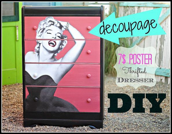 diy decoupaged dresser with a 7 dollar poster, painted furniture