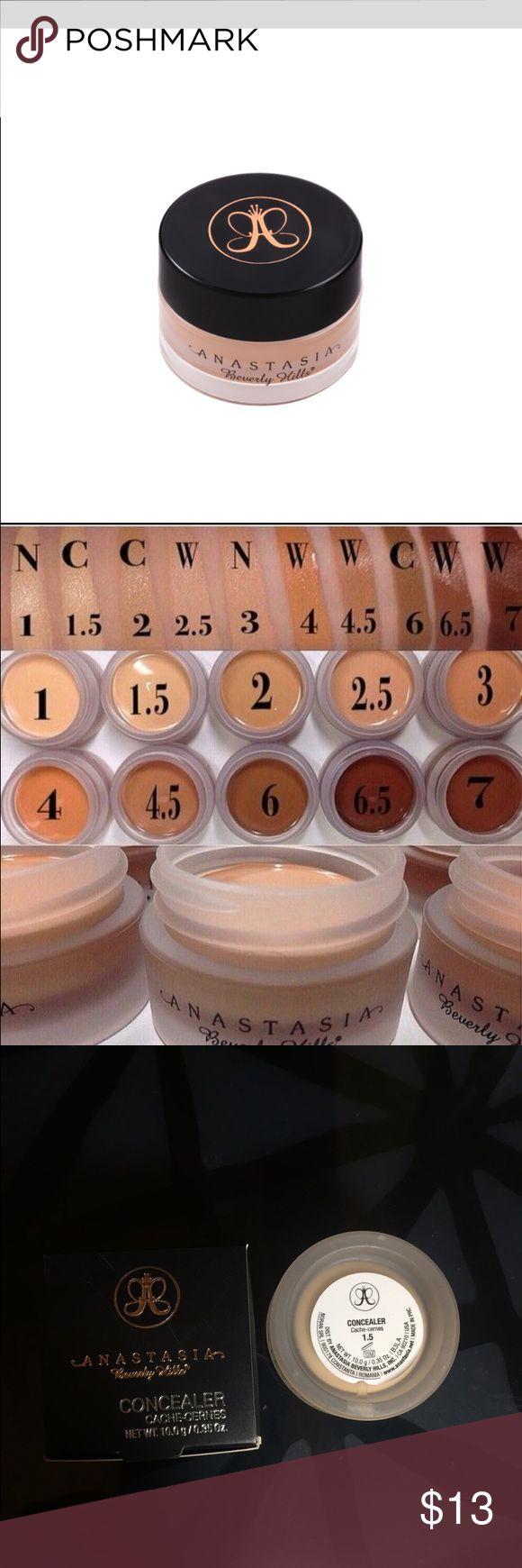 Anastasia Beverly Hills concealer 1.5 Anastasia Beverly Hills cream concealer 1.5 New in box. Photo of swatches for color reference. Anastasia Beverly Hills Makeup Concealer