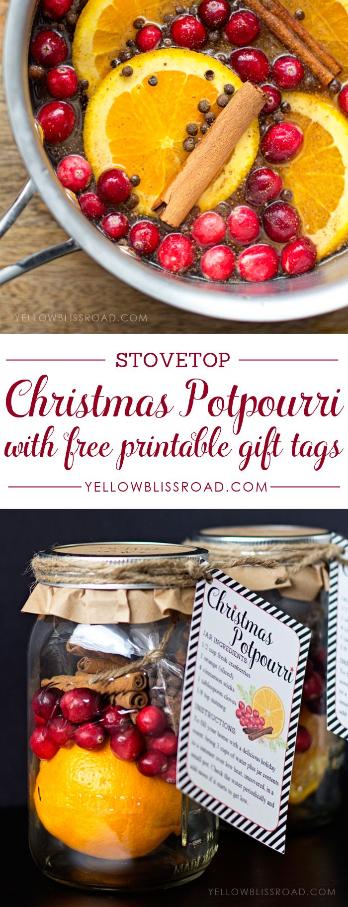 Christmas Potpourri with free printable tag - Such a great diy gift idea!!