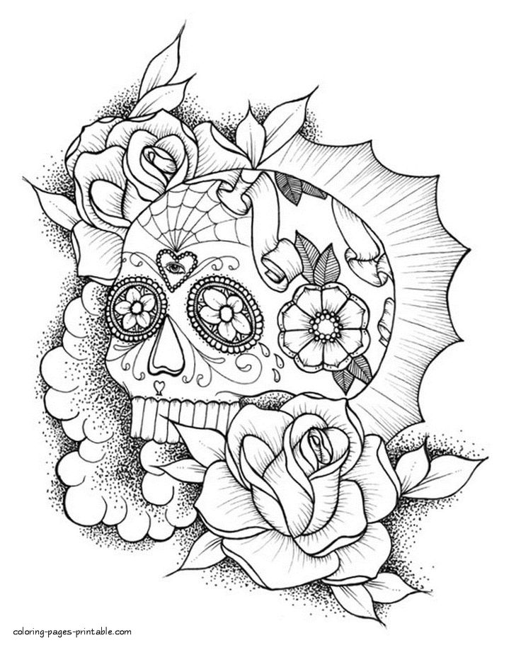 Sugar Skull Coloring Pages To Print in 2020 | Skull ...