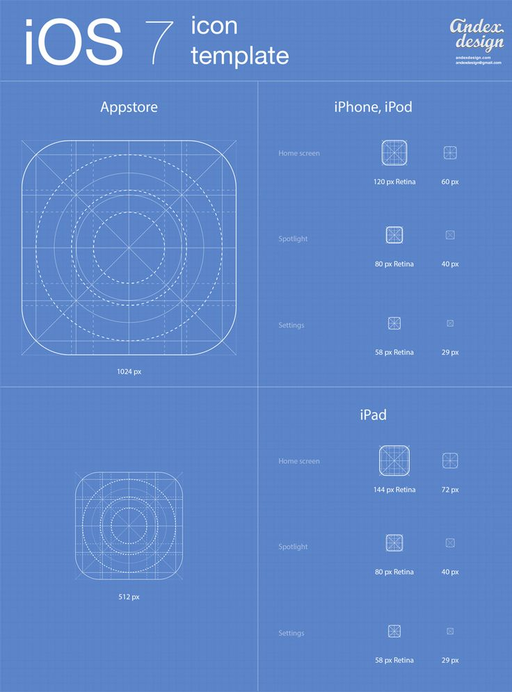 iOS 7 icons template FOR FREE Downloading. An archive file contain PSD AI files with full editable vector shapes. You can use it for your own projects absolutely free. http://www.andexdesign.com/ios-7-app-icons-template/
