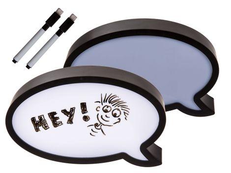 Trendartikel - Beleuchtete Kunststoff-Sprechblase mit Stift zum Beschreiben