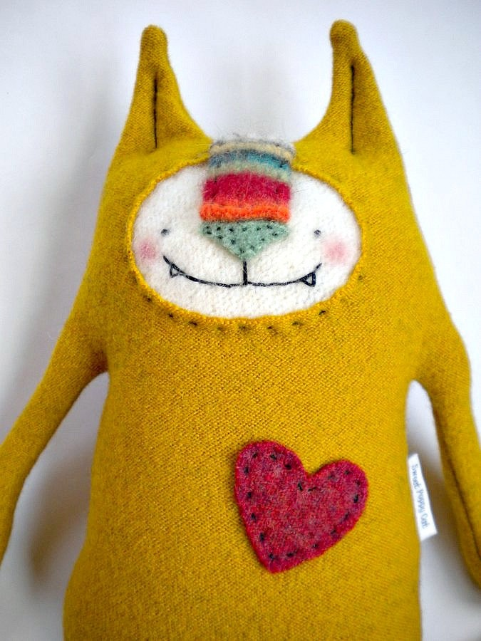 Stuffed Animal Cat Upcycled Gold Wool Sweater Repurposed