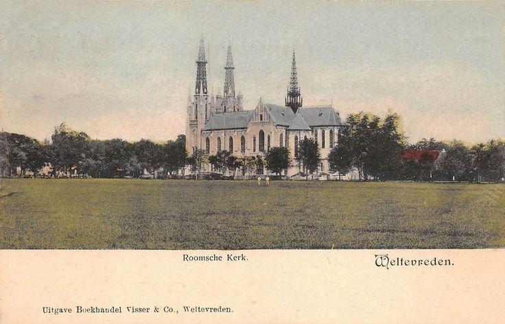 Roman Catholic Church at Weltevreden/Batavia. Beautiful ppc in colour!