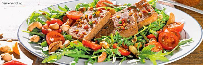 Rezept Rucola-Kirschtomatensalat mit Balsamico glasiertem Tofu