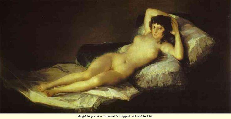 """""""Maja desnuda"""", Francisco Goya, 1800 ca, olio su tela, 97x190 cm; realizzata su richiesta del ministro Alvarez, l'opera è oggi esposta al Museo del Prado a Madrid."""