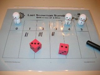 Play the Last Snowman Standing game to practice basic addition facts. directions for three different versions are included.
