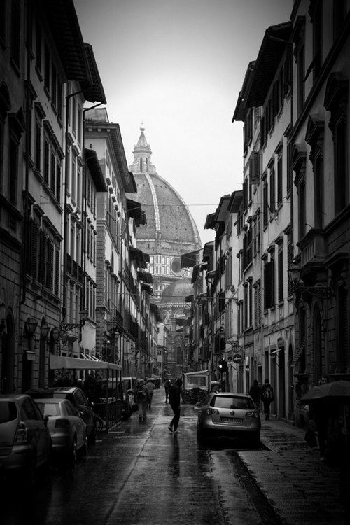"Street Photography - Florence, Italy - Black and White - Walking to the Duomo - Portrait wall art 8x12 photograph - ""Duomo"" by JarrodCorbett (33.00 USD) Italy, Florence, Black and White, Street, Duomo, rain, shower, travel"