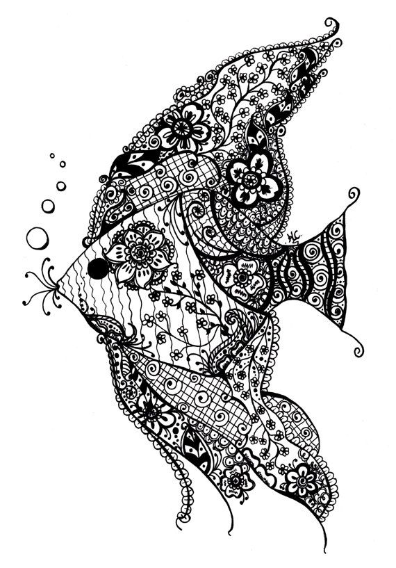 Henna Style Angel Fish Black And White Matte Photo Print By KrystalStudio