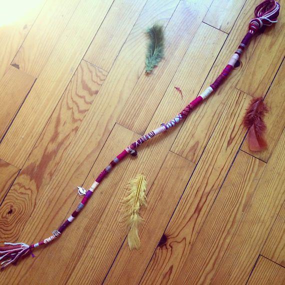 Boho rojo abrigo del pelo extensiones de rastas hippie