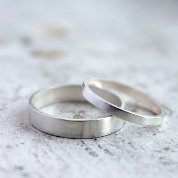 Silver Wedding Band Set  Silver Wedding Ring  His by moiraklime, $148.00