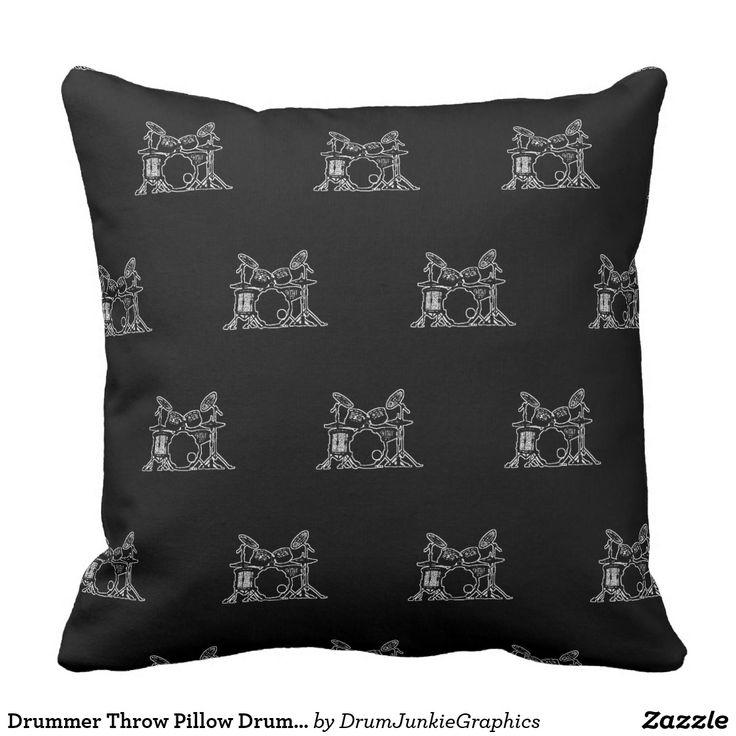 Drummer Throw Pillow Drum Cushion Music Decor