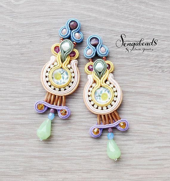 OOAK soutache earrings. Handmade earrings. Soutache by Sengabeads