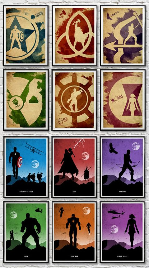 Minimalist Avengers Posters by moonposter on Etsy