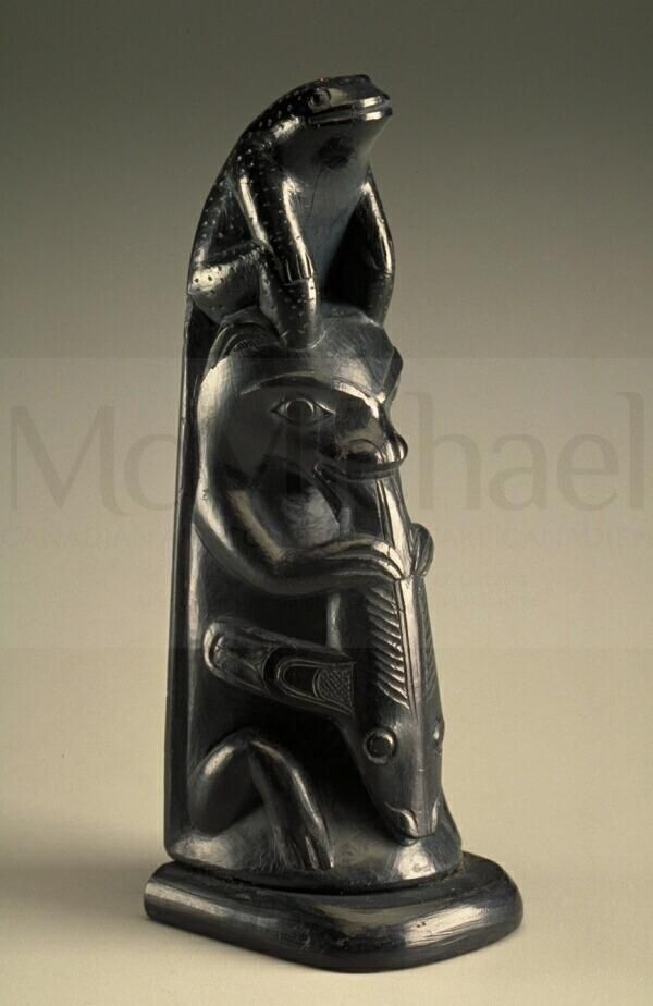 Artist: Charles Edenshaw Nationality: Canadian, First Nation, Haida Artist Dates: 1839 - 1920 Gender: male Culture: First Nation; Haida Title: Totem Pole Object Dates: c. 1900 Media: argillite Dimensions: 11 x 3.7 x 4.1 cm McMichael Collection