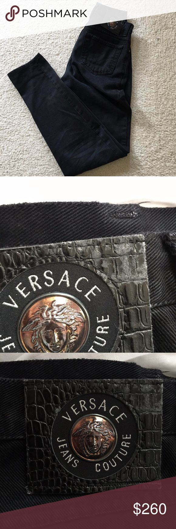 Selling this VINTAGE VERSACE Couture Black High Waisted Jeans on Poshmark! My username is: purelycari. #shopmycloset #poshmark #fashion #shopping #style #forsale #Versace Jeans Collection #Denim