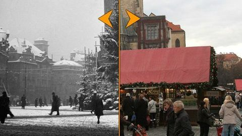 Fotografie staré desítky let ukazují pražské vánoční trhy, bruslaře na Vltavě, sváteční výzdobu obchodů, práci ledařů či prodej kaprů v pražských ulicích....