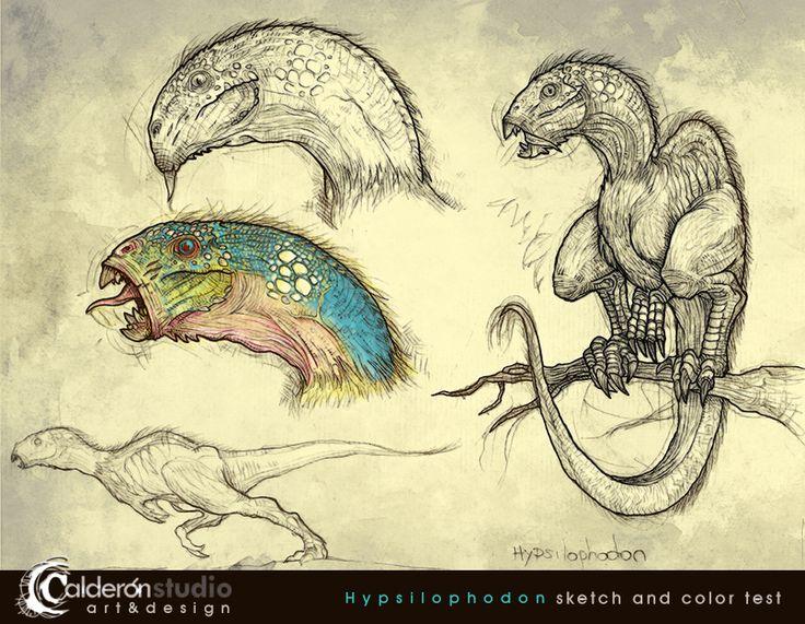 Trabajando en mi Proyecto Dinosaurio: Bocetos y prueba de color para Hypsilophodon   Working on my Project Dinosaur: Hypsilophodon design sketch and color test  Art and design by @Calderon_STUDIO