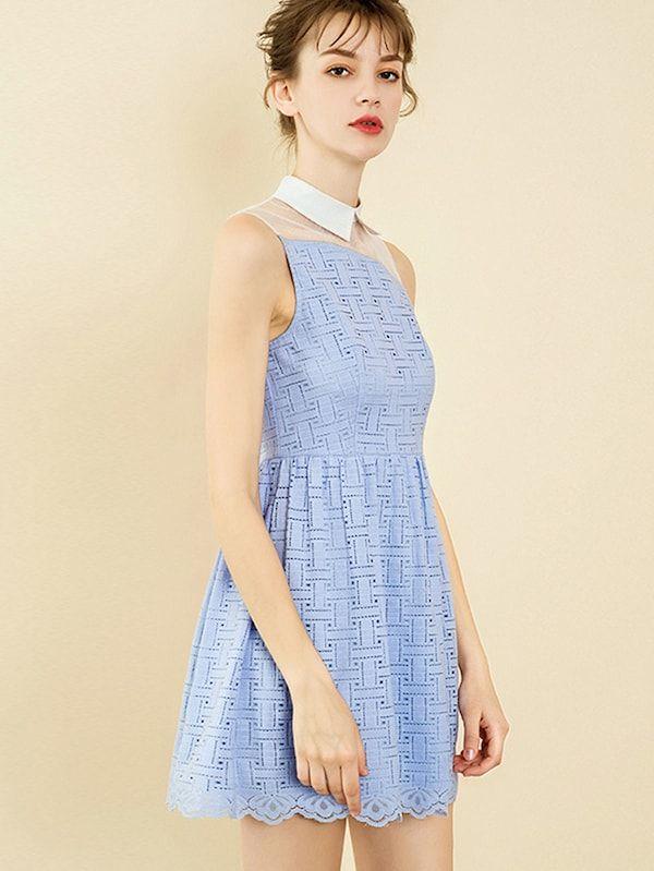 b617b3f42c Double Crazy Contrast Mesh Collar Neck Lace Trim Dress | SHEIN | II ...