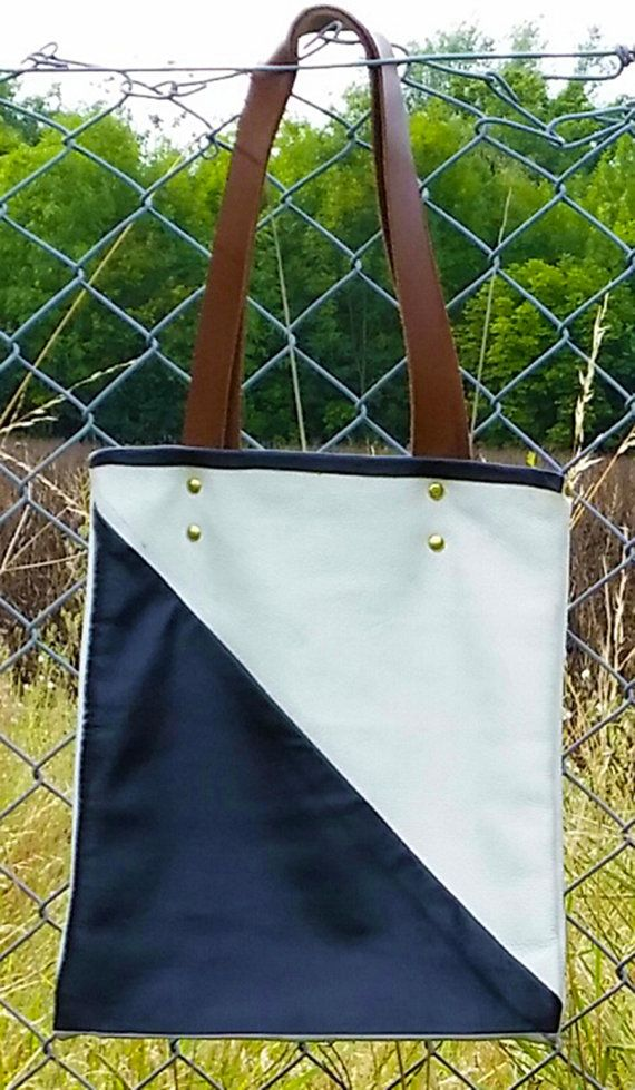 Beautiful Handmade Monochrome Leather Tote by AGOODHIDING on Etsy, £40.00