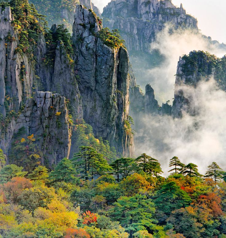 Huangshan is a mountain range in southern Anhui province in eastern China. Vegetation on the range is thickest below 1,100 meters (3,600 ft), with trees growing up to the treeline at 1,800 meters (5,900 ft). http://vacationandtripplanning.blogspot.in/2015/11/7-best-places-to-visit-in-china.html