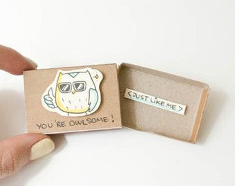 "Funny Owl Friendship Card ""You're Owlsome"" Matchbox / Gift box / Message box / Awesome Owl/ OT037"