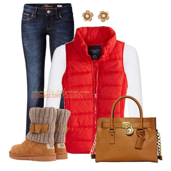 Super cute fall outfit.  Jeans, boots, orange puffy vest, white long sleeve top.  Adorable gold flower studs
