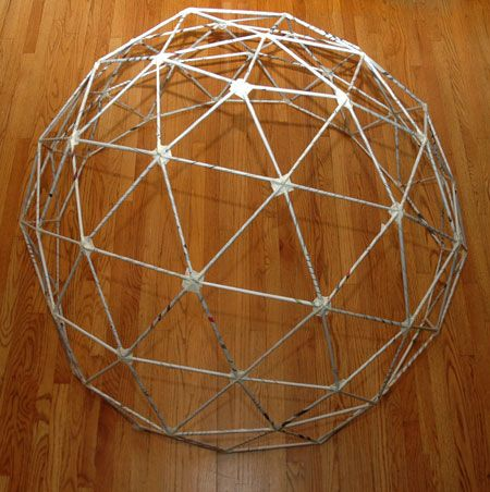 A 5 Foot Geodesic Dome Made With Newspapers And Masking