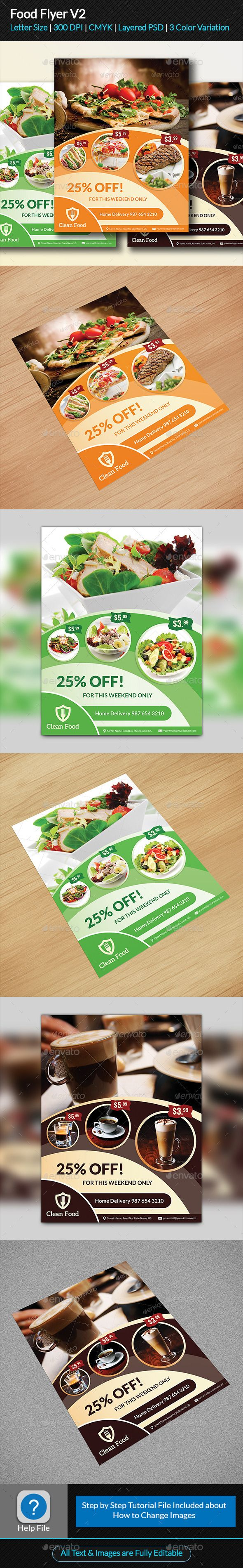 Food Flyer Template #design Download: http://graphicriver.net/item/food-flyer-v2/11811938?ref=ksioks
