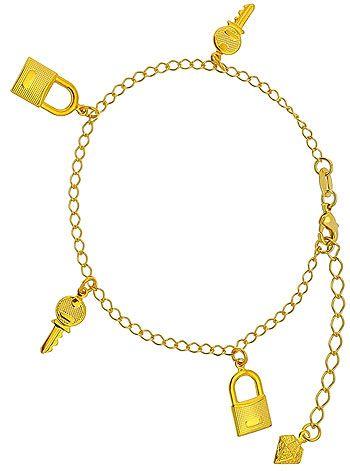Pulseira folheada a ouro c/ pingentes de cadeado e chave