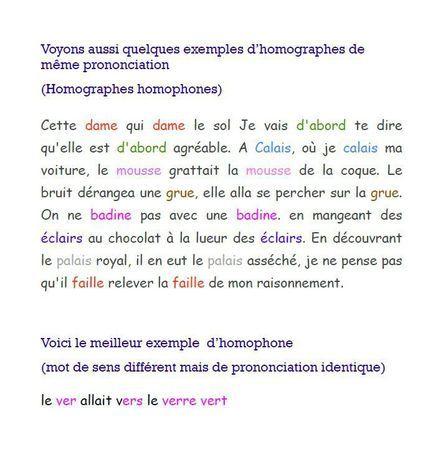 Homographes homophones