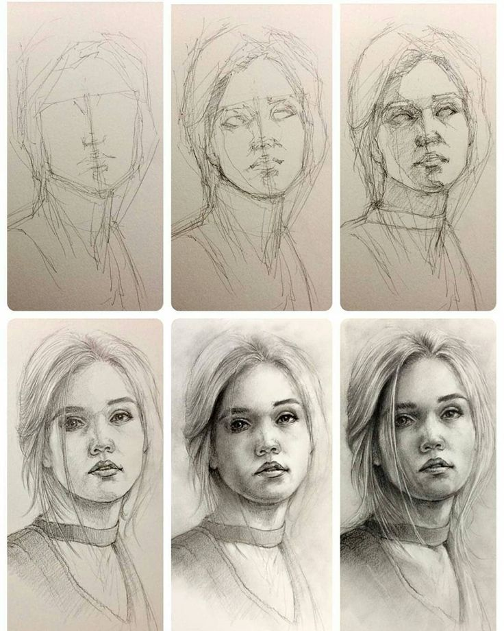 Картинки как рисовать людей портрет поэтапно