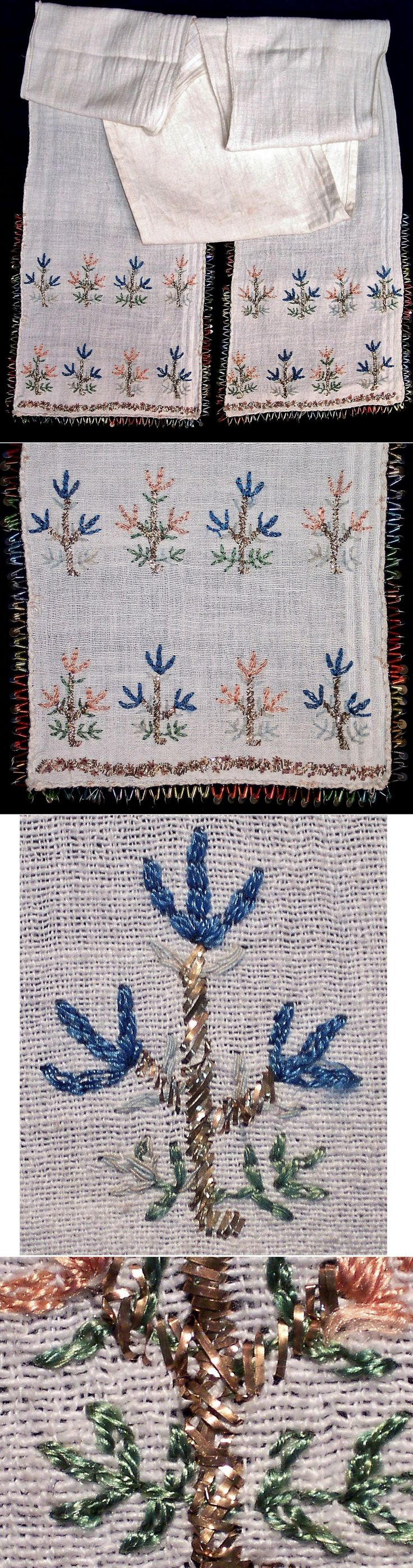 A cotton 'uckur' (waistband) with embroidered ends and edged with tubular glass pearls and metal sequins.  From the Marmara region, 1925-1950.  The edging in Aegean style was added later.  The 'two-sided' embroidery ((identical on both sides of the fabric) is executed in silk (for the coloured parts) and with metal threads and strips ('tel kırma') for  the 'goldwork'.  (Inv.nr. brdw021 - Kavak Costume Collection - Antwerpen/Belgium).