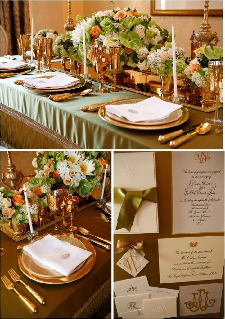 Wedding Dinner Party Ideas Part - 28: Green And Gold Tablescape. This Is Quite Formal, But Could Be Beautiful For  A