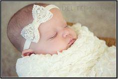 Newborn Baby Headband Vintage Lace Ivory Baptism Wedding Christening Bow   Infant Toddler Girls Headband   Wedding Accessories   All Sizes