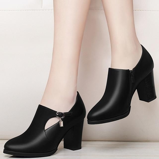 Ladies Kitten Heel Pointed Toe Buckle Side Zip PU Leather Ankle Boots Vogue Prom