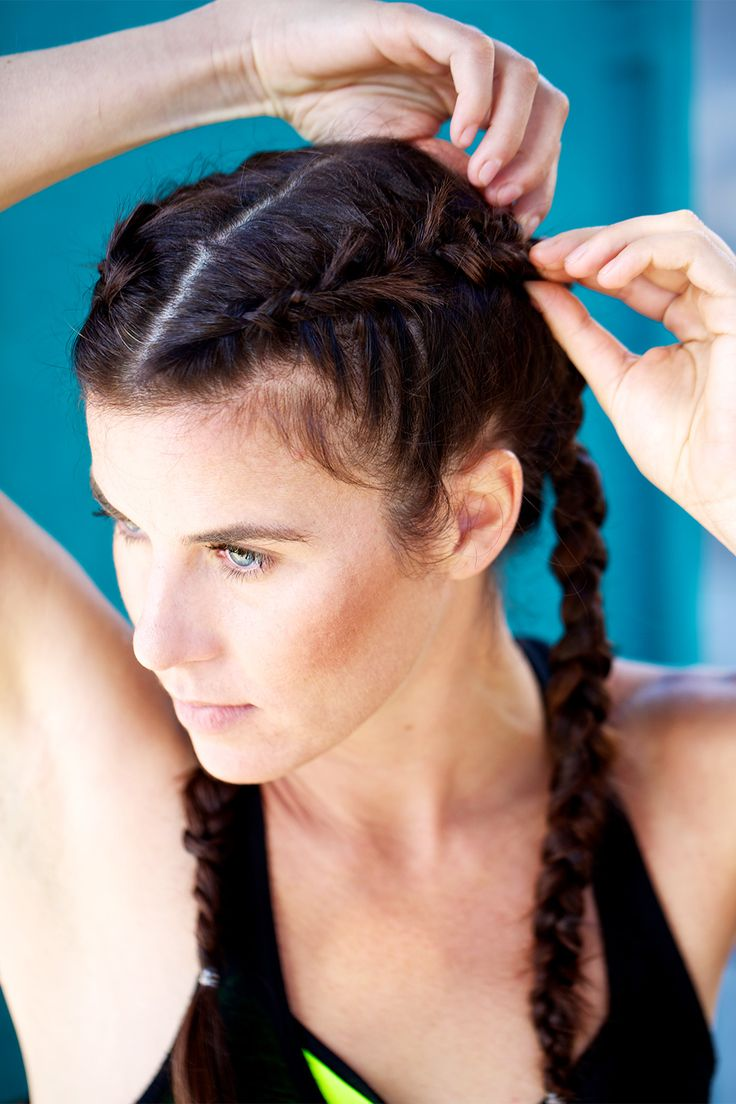 5 'Dos MADE For Active Ladies #refinery29  http://www.refinery29.com/workout-hairstyles#slide18  Repeat on the opposite side. Use your fingers to pull and loosen the braids.