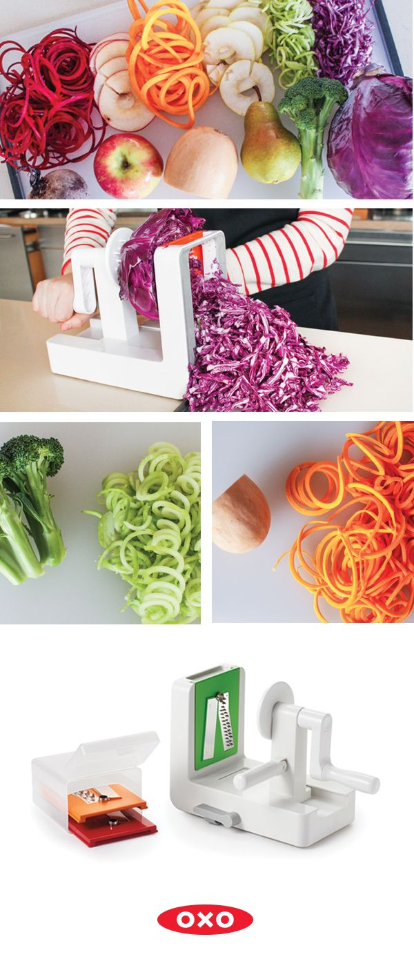 Not just for zoodles – the OXO Spiralizer can be used for cauliflower rice, slaw, apple chips, and more!