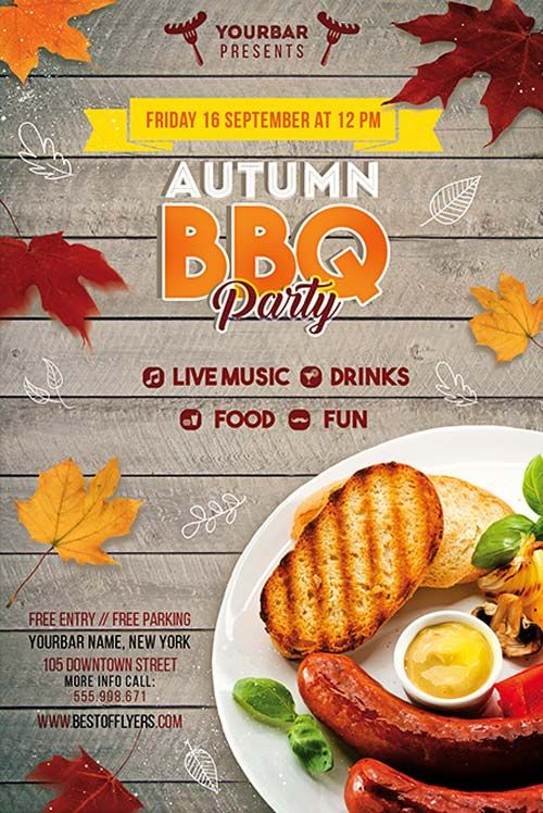 Autumn BBQ Party Free PSD Flyer Template - http://freepsdflyer.com/autumn-bbq-party-free-psd-flyer-template/ Enjoy downloading the Autumn BBQ Party Free PSD Flyer Template created by Bestofflyers!   #Autumn, #Barbecue, #Bbq, #Club, #Fall, #Family, #Food, #Outdoor, #Party, #Picknick, #Summer