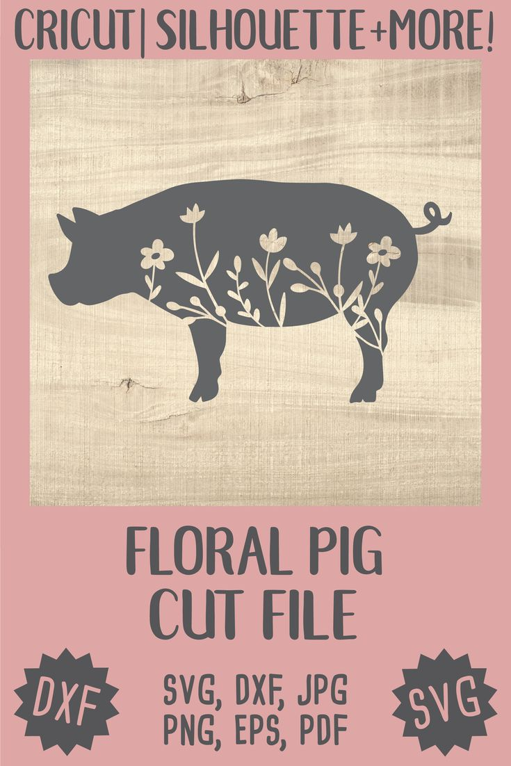 Download Floral pig Silhouette SVG Cricut Silhouette pig svg | Etsy ...