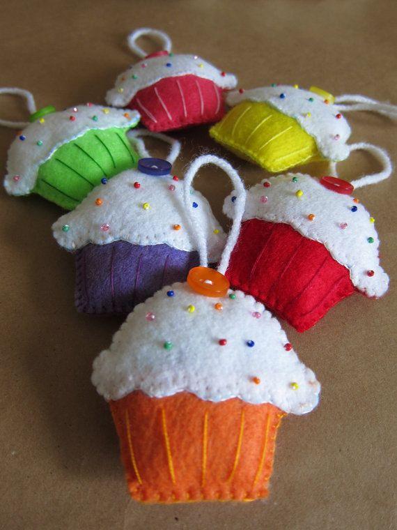 6pcs SWEET CUPCAKE Felt Ornament Set by PinkMeStudio on Etsy