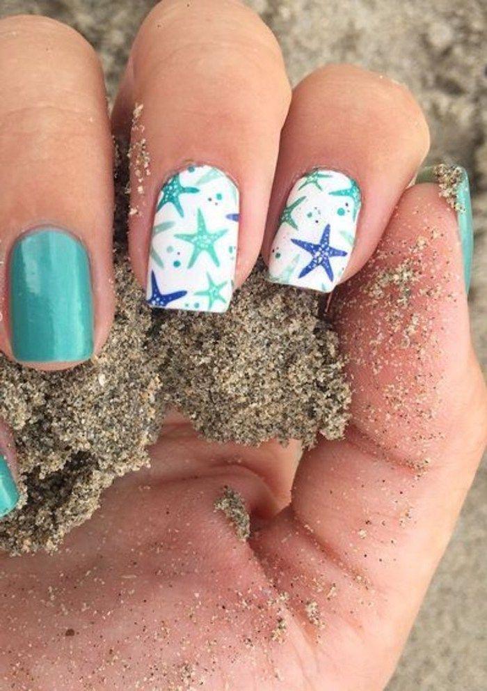 White Green Nail Polish Blue Green Stars Cute Simple Nails Beach Sand In 2020 Beach Themed Nails Beach Nail Art Nail Art Summer Beach