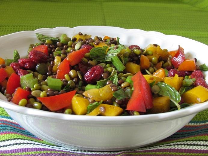 Black lentil salad and vigna radiata