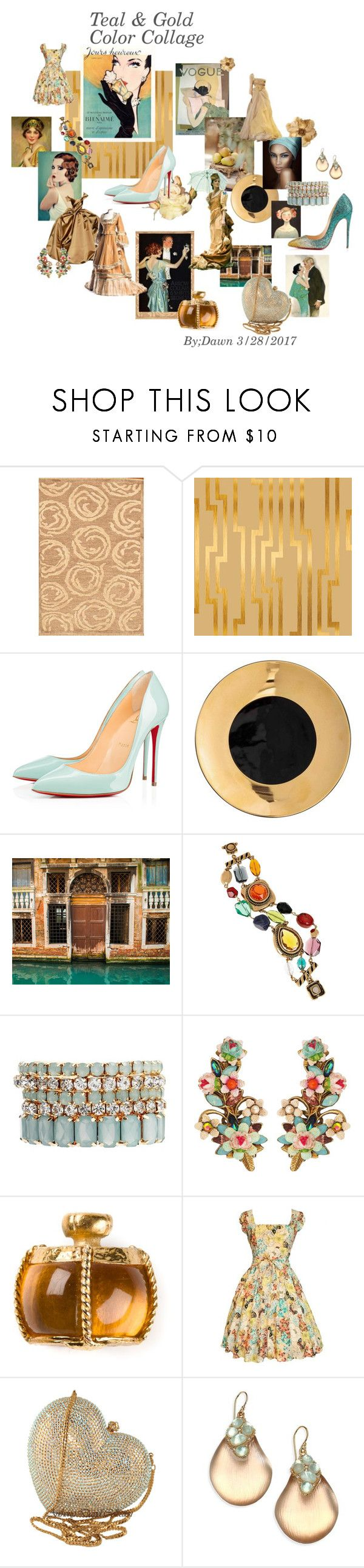 """COLOR COLLAGE"" by dawn-lindenberg ❤ liked on Polyvore featuring Christian Louboutin, Clips, Leyendecker, WALL, Oscar de la Renta, Johnny Loves Rosie, Michal Negrin, Yves Saint Laurent, Swarovski and Alexis Bittar"