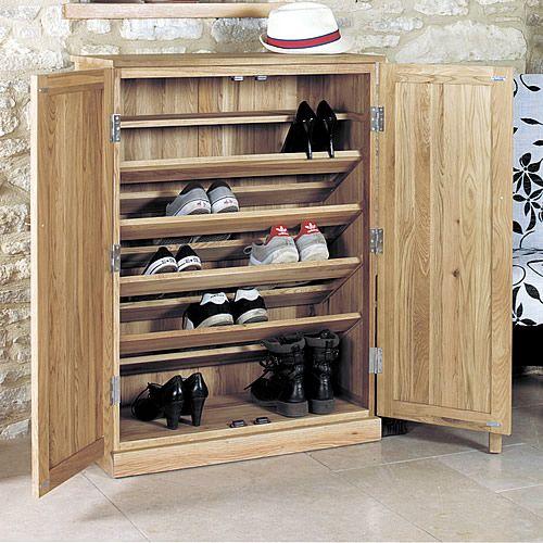 Large Oak Shoe Storage Cupboard - Mobel