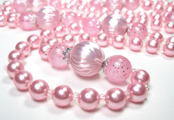 Extra Long Necklace Pink Pearl Necklace Mad Men by jewelrybyNaLa, $36.50