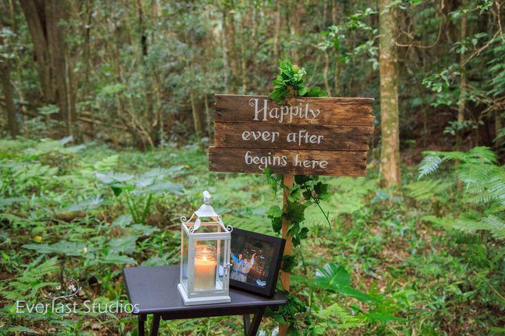 WOODLAND WEDDING RAINFOREST THEME HANGING CEREMONY DECORATIONS. O'Reillys Rainforest Retreat Memorial candle table...Grandma Rustic wedding signs